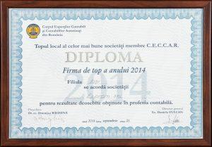 Diplomă - Topul național al celor mai bune societăți membre CECCAR al anului 2014