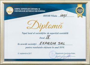 Diplomă - Topul local al societăților de expertiză contabilă: Locul IX