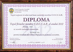 Diplomă - Topul național al celor mai bune societăți membre CECCAR