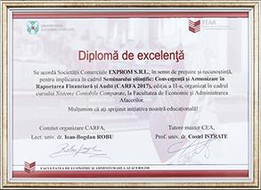 Diplomă de excelență - acordată de FEAA