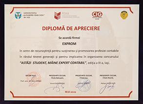 """Diplomă de apreciere - """"Astăzi student, mâine expert contabil"""", ediția a III-a"""